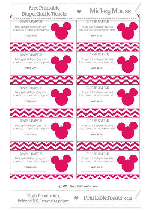 Free Ruby Pink Chevron Mickey Mouse Theme Diaper Raffle Tickets