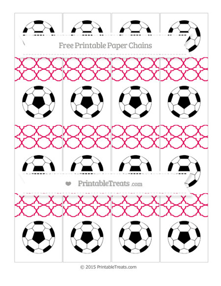 Free Ruby Pink Quatrefoil Pattern Soccer Paper Chains