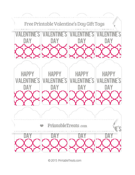 Free Ruby Pink Quatrefoil Pattern Valentine's Day Gift Tags