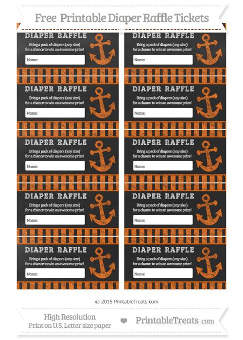Free Safety Orange Striped Chalk Style Nautical Diaper Raffle Tickets