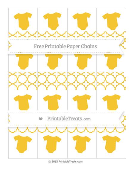 Free Saffron Yellow Quatrefoil Pattern Baby Onesie Paper Chains