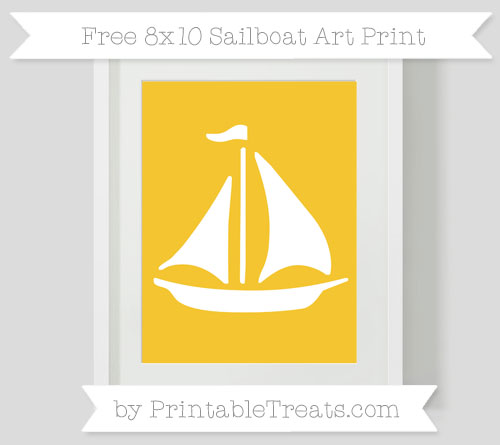 Free Saffron Yellow Sailboat 8x10 Art Print
