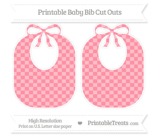 Salmon Pink Checker Pattern Large Baby Bib Cut Outs