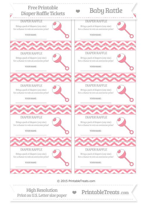 Free Salmon Pink Chevron Baby Rattle Diaper Raffle Tickets