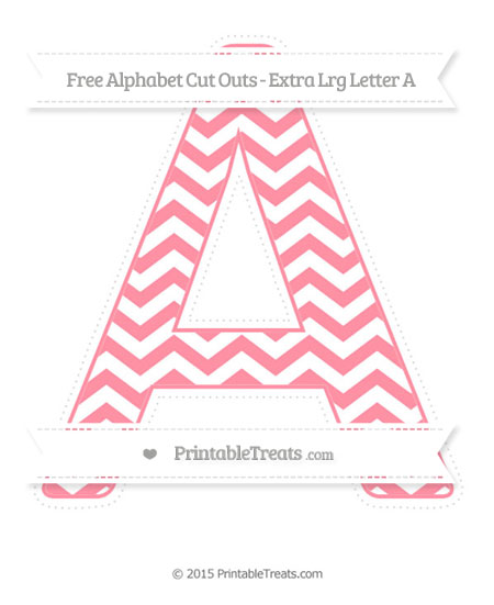 Free Salmon Pink Chevron Extra Large Capital Letter A Cut Outs