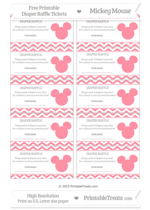 Free Salmon Pink Chevron Mickey Mouse Theme Diaper Raffle Tickets