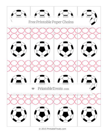 Free Salmon Pink Quatrefoil Pattern Soccer Paper Chains
