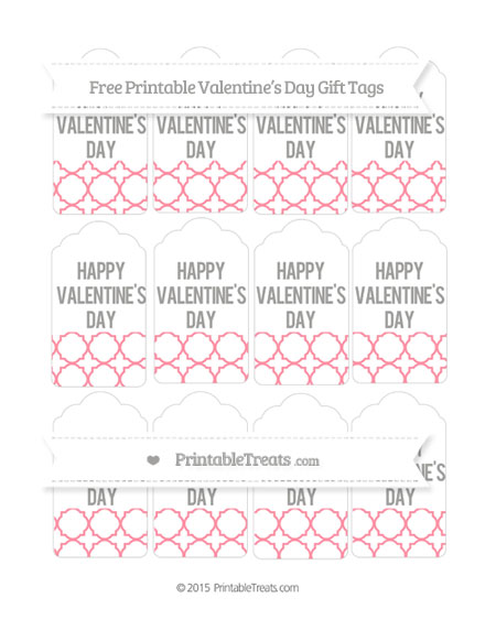 Free Salmon Pink Quatrefoil Pattern Valentine's Day Gift Tags