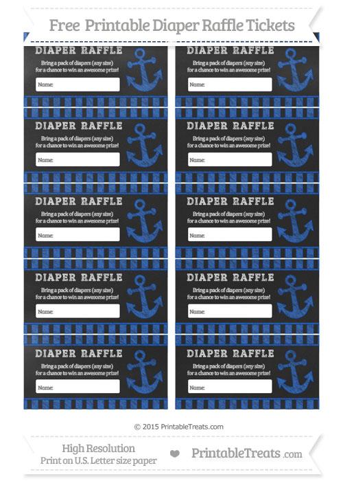 Free Sapphire Blue Striped Chalk Style Nautical Diaper Raffle Tickets