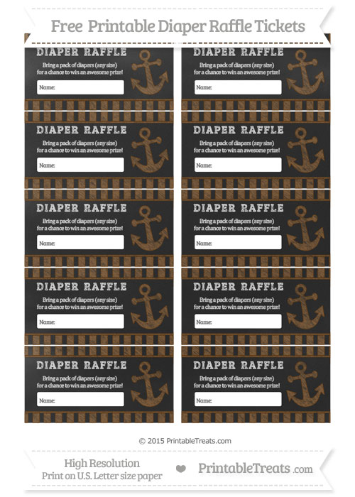 Free Sepia Striped Chalk Style Nautical Diaper Raffle Tickets