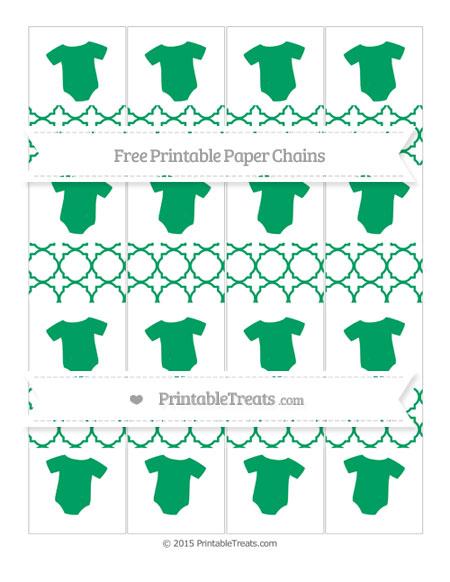 Free Shamrock Green Quatrefoil Pattern Baby Onesie Paper Chains