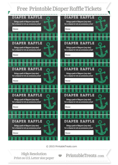 Free Shamrock Green Striped Chalk Style Nautical Diaper Raffle Tickets