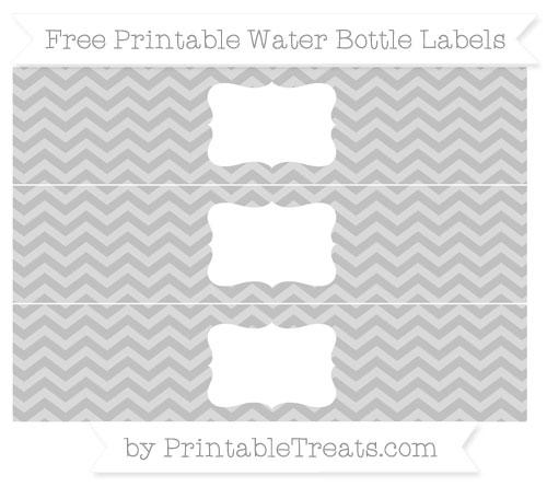 Free Silver Chevron Water Bottle Labels