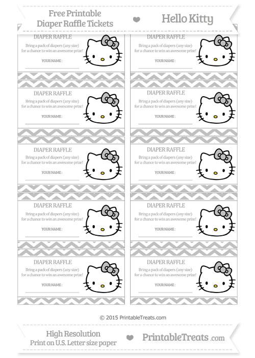 Free Silver Chevron Hello Kitty Diaper Raffle Tickets