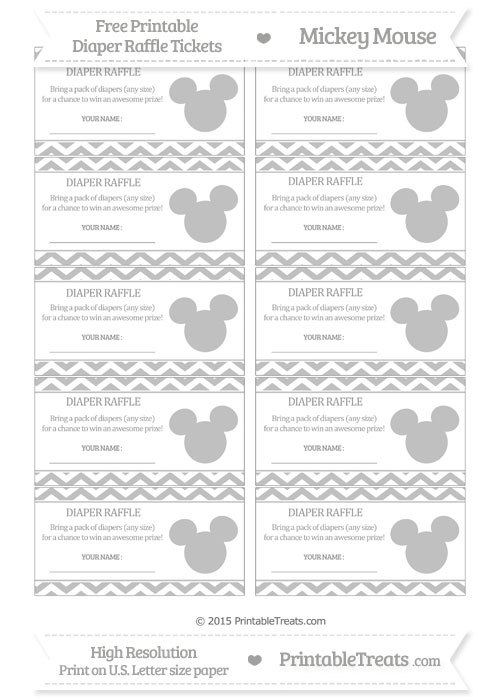 Free Silver Chevron Mickey Mouse Theme Diaper Raffle Tickets
