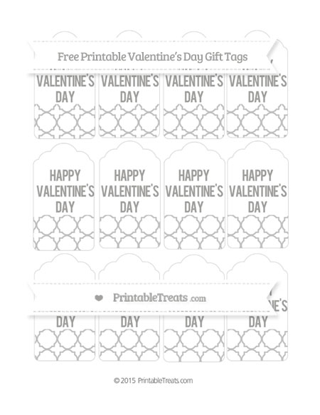 Free Silver Quatrefoil Pattern Valentine's Day Gift Tags