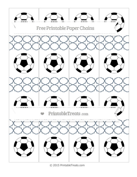 Free Slate Grey Quatrefoil Pattern Soccer Paper Chains