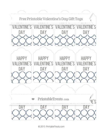 Free Slate Grey Quatrefoil Pattern Valentine's Day Gift Tags