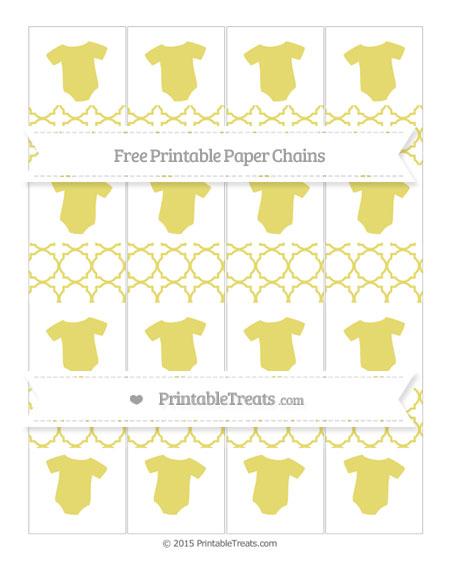 Free Straw Yellow Quatrefoil Pattern Baby Onesie Paper Chains