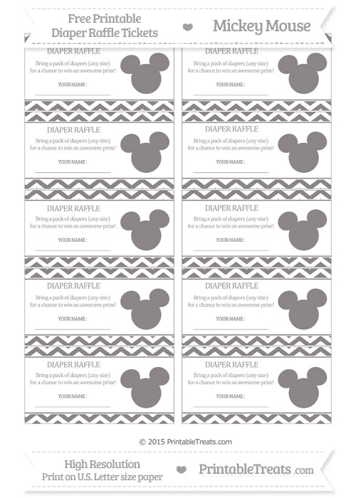 Free Taupe Grey Chevron Mickey Mouse Theme Diaper Raffle Tickets