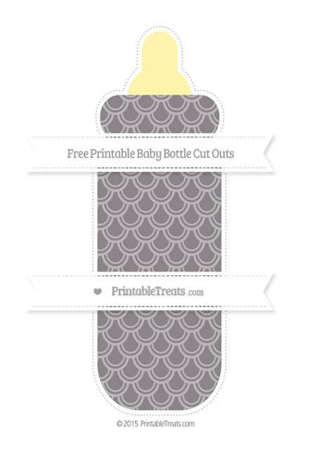 Taupe grey fish scale pattern extra large baby bottle cut for Fish scale coke cut