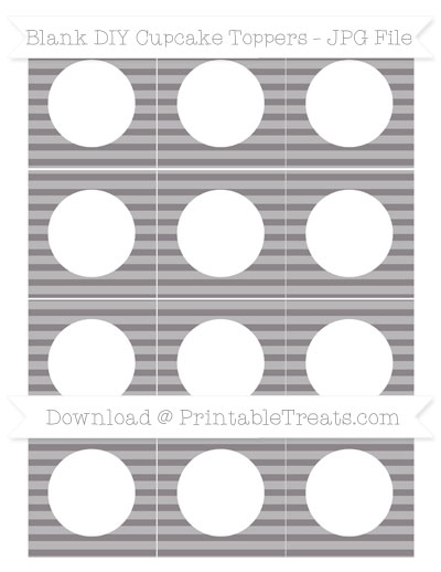 Free Taupe Grey Horizontal Striped Blank DIY Cupcake Toppers
