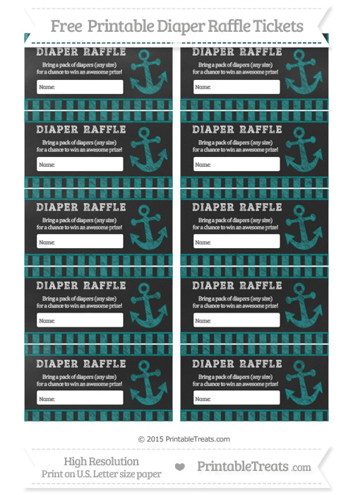 Free Teal Striped Chalk Style Nautical Diaper Raffle Tickets