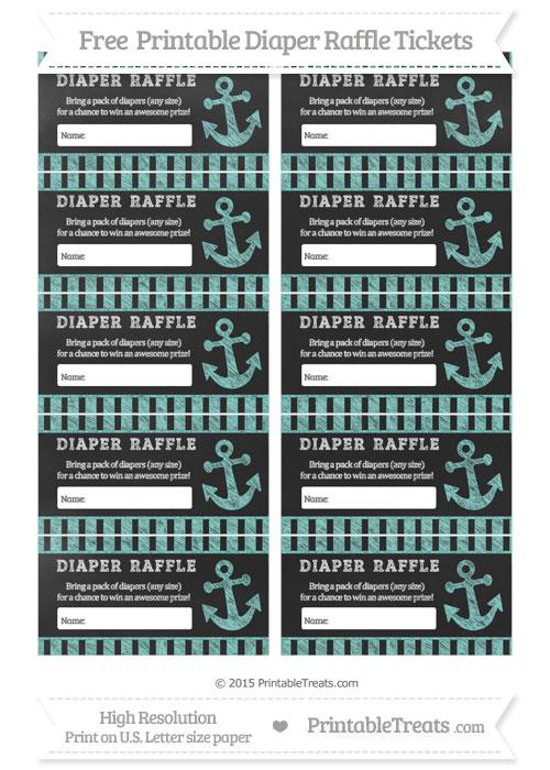 Free Tiffany Blue Striped Chalk Style Nautical Diaper Raffle Tickets