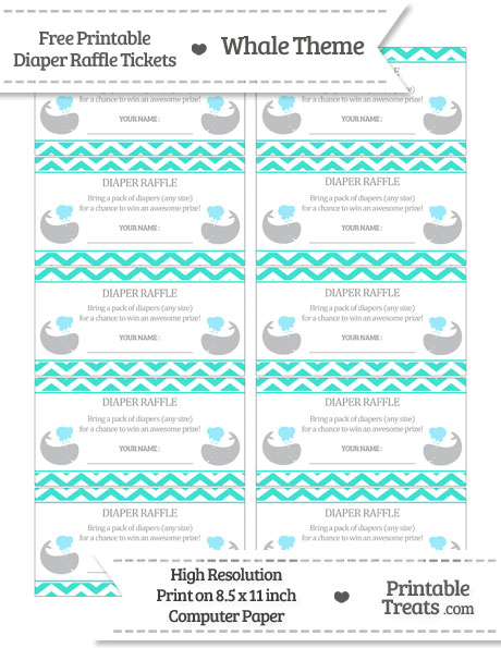 graphic regarding Diaper Raffle Free Printable identified as Totally free Turquoise Chevron Whale Diaper Raffle Tickets