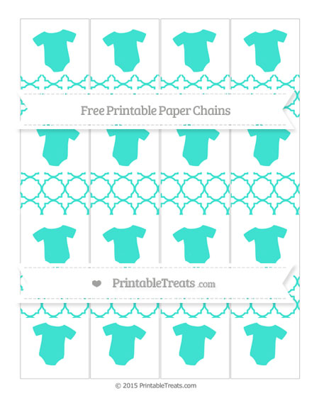 Free Turquoise Quatrefoil Pattern Baby Onesie Paper Chains