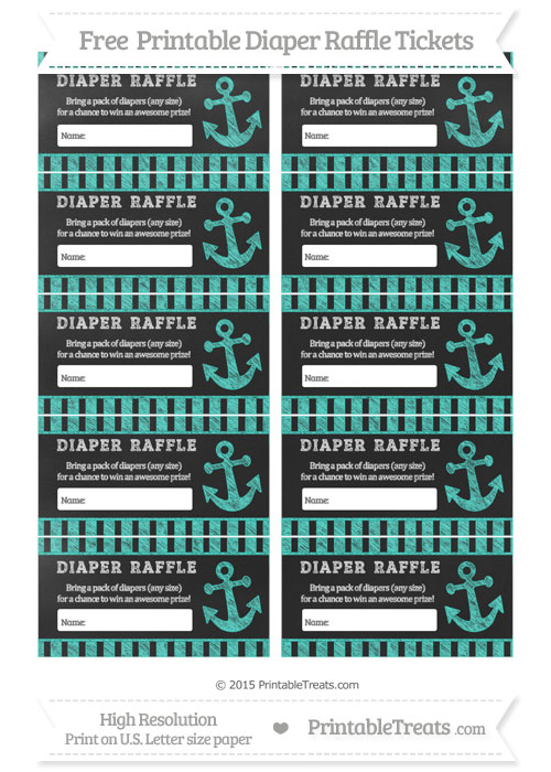 Free Turquoise Striped Chalk Style Nautical Diaper Raffle Tickets