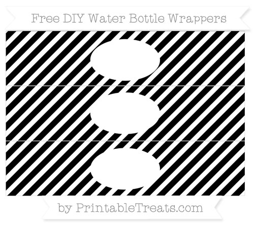 Free White and Black Diagonal Striped DIY Water Bottle Wrappers