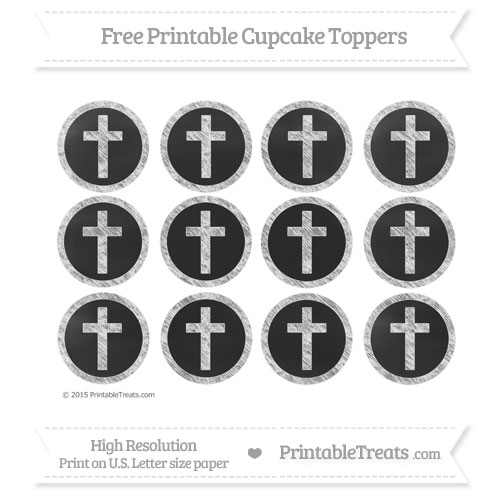 Free White Chalk Style Cross Cupcake Toppers