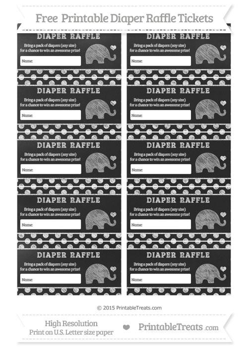 Free White Polka Dot Chalk Style Baby Elephant Diaper Raffle