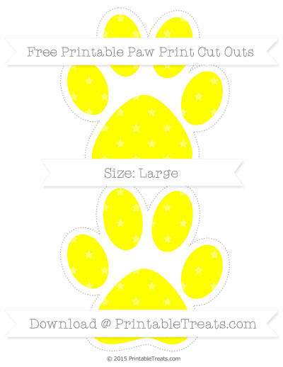 Yellow Star Pattern Large Paw Print Cut Outs — Printable Treats.com