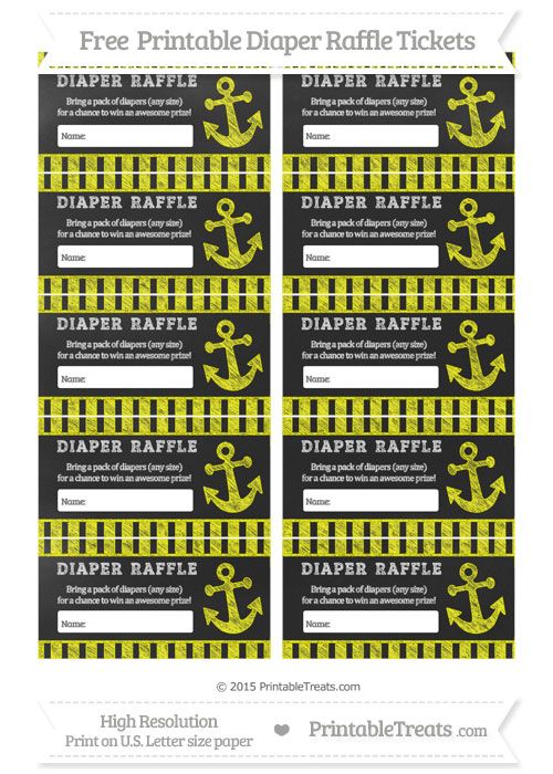 Free Yellow Striped Chalk Style Nautical Diaper Raffle Tickets
