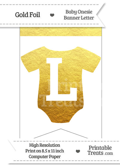 Gold Foil Baby Onesie Bunting Banner Letter L from PrintableTreats.com