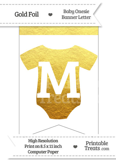 Gold Foil Baby Onesie Bunting Banner Letter M from PrintableTreats.com