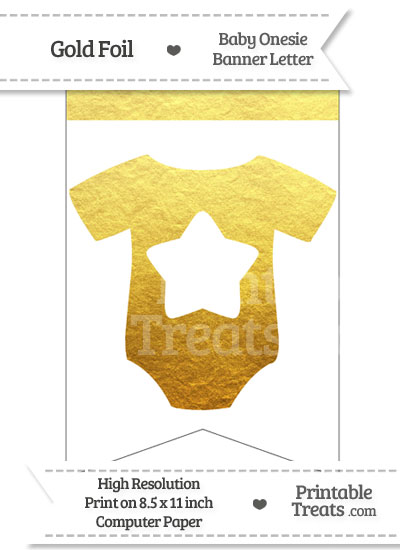 Gold Foil Baby Onesie Bunting Banner Star End from PrintableTreats.com