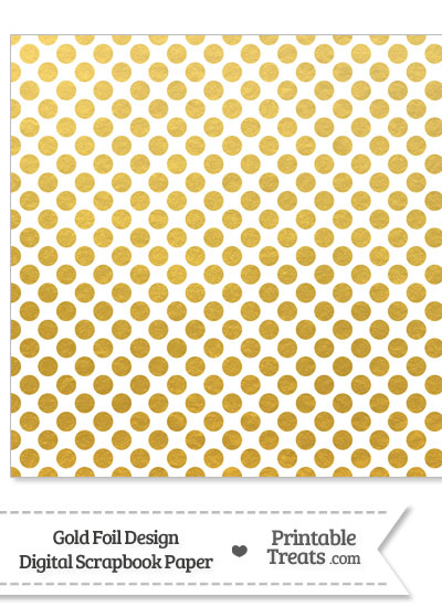 Gold Foil Dots Digital Scrapbook Paper from PrintableTreats.com