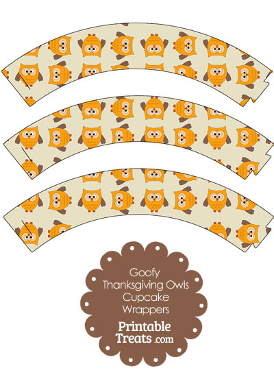 Goofy Thanksgiving Owls Cupcake Wrappers from PrintableTreats.com
