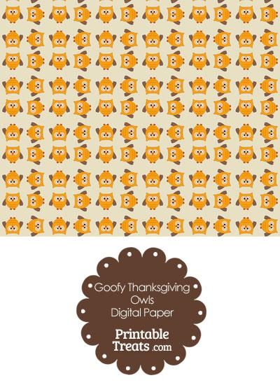 Goofy Thanksgiving Owls Digital Scrapbook Paper Printable Treats