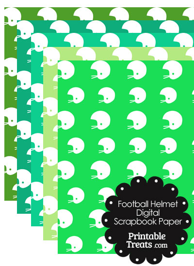 Green Background Football Helmet Digital Scrapbook Paper Printable
