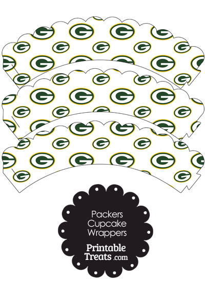 Green Bay Packers Logo Scalloped Cupcake Wrappers from PrintableTreats.com