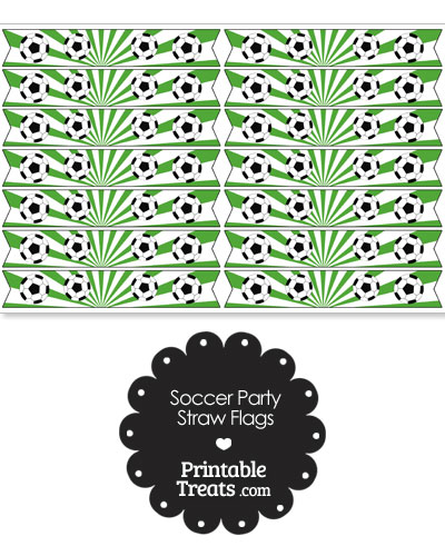 Green Soccer Party Straw Flags from PrintableTreats.com