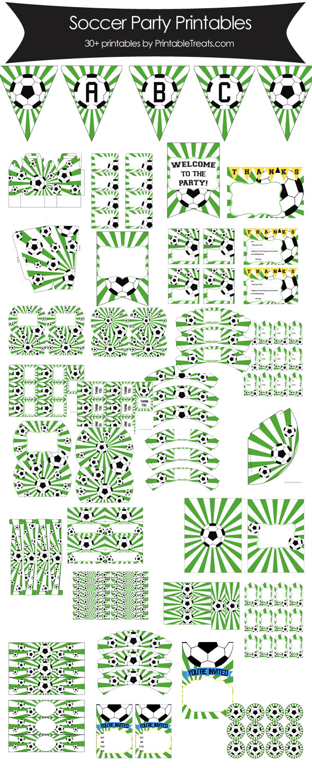 Green Sunburst Soccer Printable Party Set from PrintableTreats.com