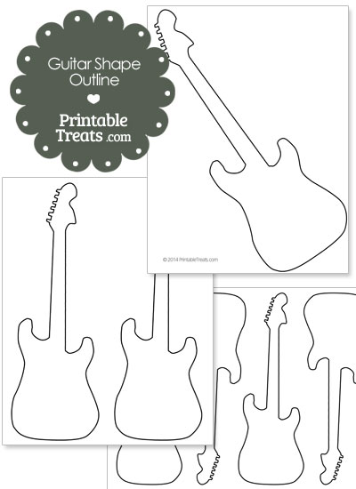 Guitar shape outline printable printable for Guitar cut out template