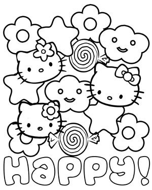 Happy Hello Kitty Coloring Page