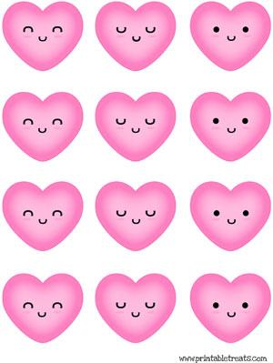 hearts to print pink kawaii faces