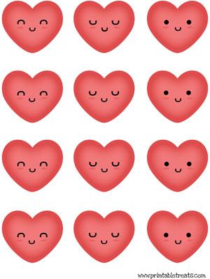 hearts to print red kawaii faces
